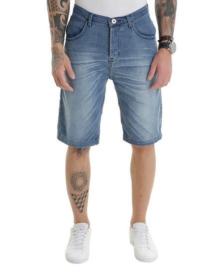Bermuda Jeans Reta em Moletom Azul Médio