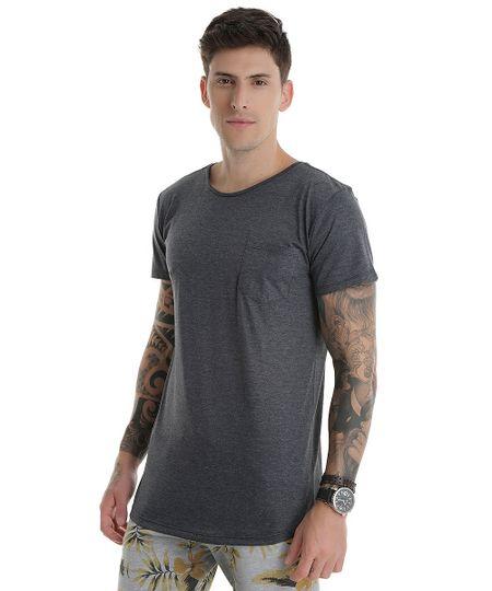 Camiseta Básica Longa Cinza Mescla Escuro