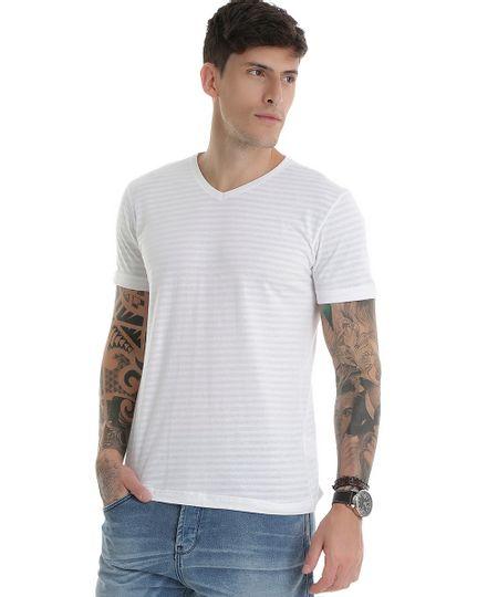 Camiseta Listrada Branca