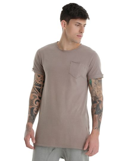 Camiseta Longa Cinza