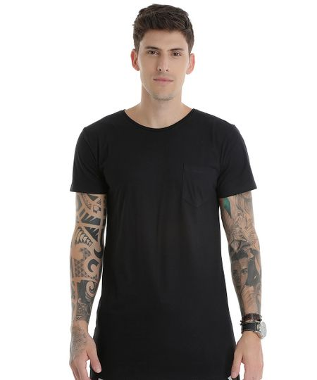 Camiseta Básica Longa Preta