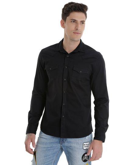 Camisa com Bolso Preta