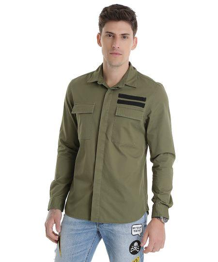Camisa com Listras Verde
