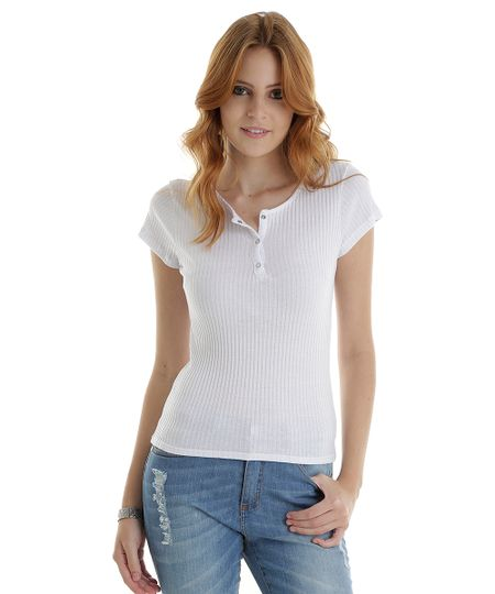 Blusa Básica Canelada Branca
