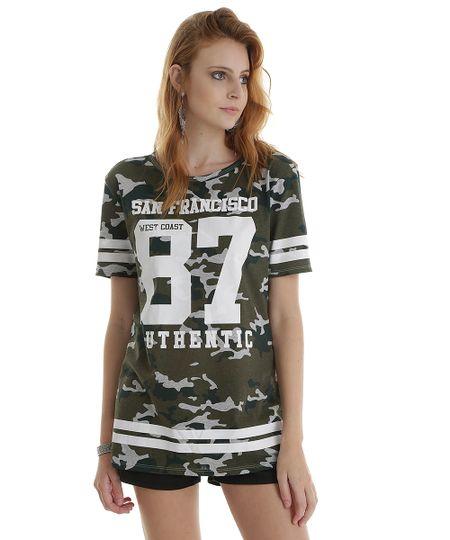 Blusa Longa Estampada Camuflada Verde Militar
