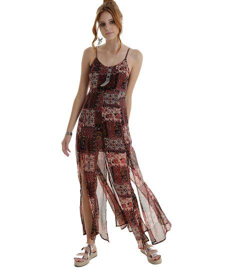 Vestido Longo Estampado Arabescos Vinho