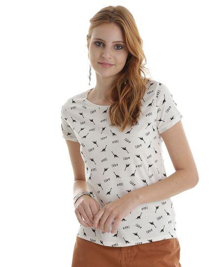 Blusa Estampada de Dinossauros Off White