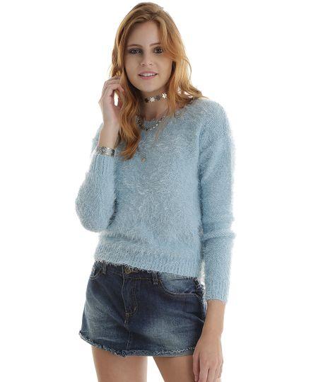 Suéter em Tricô Azul Claro