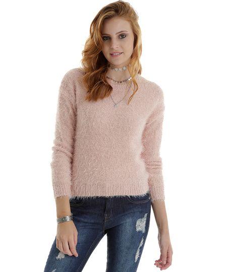 Suéter em Tricô Rosa Claro