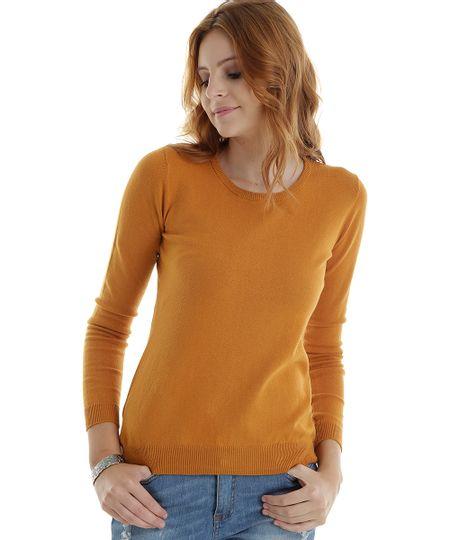 Suéter em Tricô Amarelo