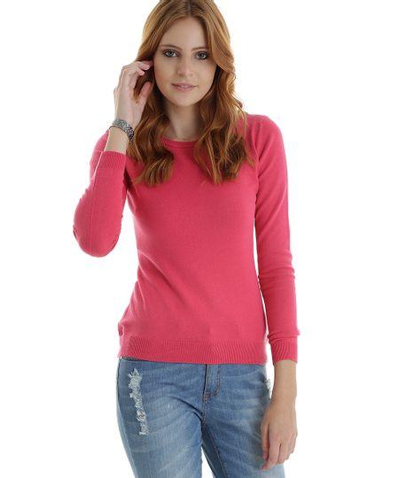 Suéter em Tricô Rosa