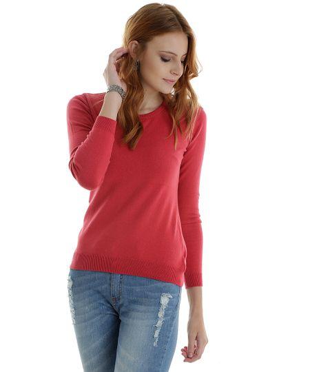 Suéter em Tricô Vermelho