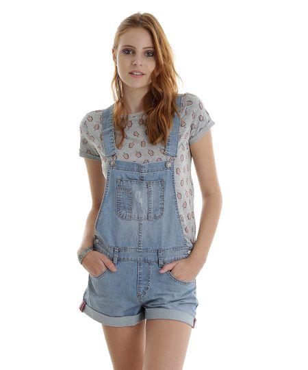 Jardineira Jeans Azul Claro