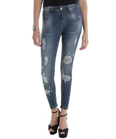 Calça Jeans Skinny Sawary Azul Escuro