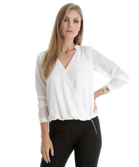Blusa com Transpasse Off White