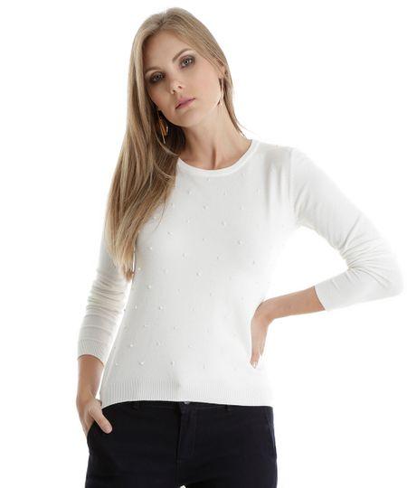 Suéter em Tricô com Miçanga Off White