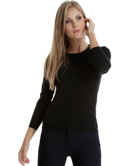 Suéter em Tricô com Miçanga Preto