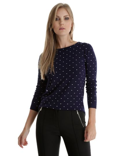 Suéter em Tricô Estampado Azul Marinho