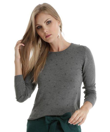 Suéter em Tricô com Miçanga Cinza Mescla
