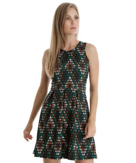 Vestido Estampado Geométrico Verde Escuro