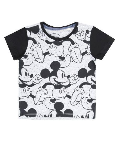 Camiseta Estampada Mickey Cinza Mescla