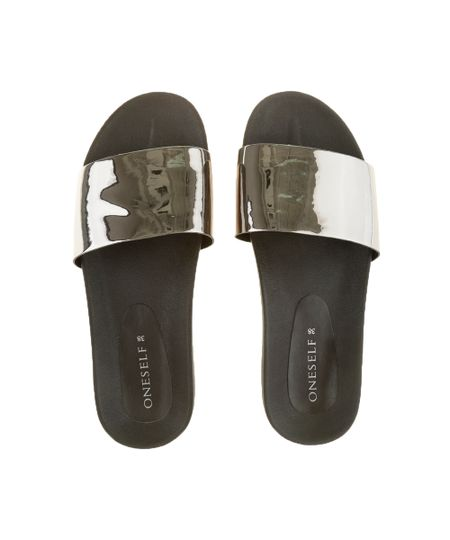 Chinelo Slide Metalizado Preto