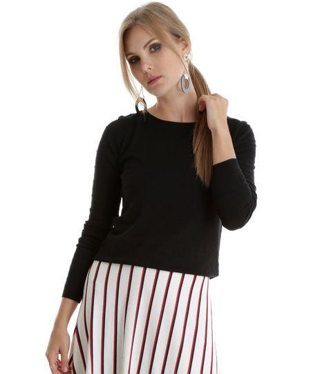 Suéter em Tricô Texturizado Preto
