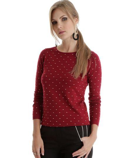 Suéter em Tricô Estampado Vinho