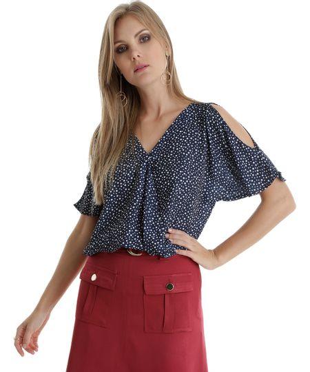 Blusa Open Shoulder Estampada de Poá Azul Marinho