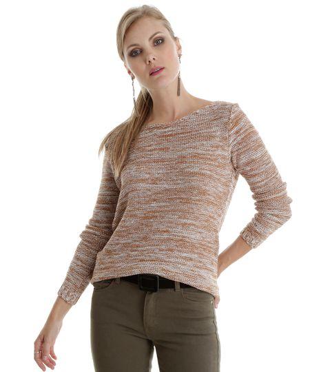 Suéter em Tricô Marrom Claro