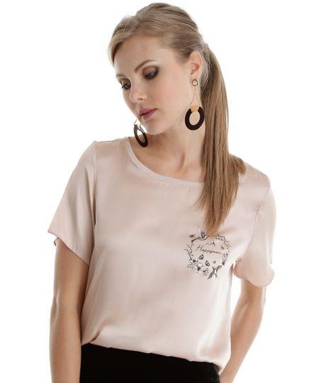 Blusa Acetinada Rosa Claro