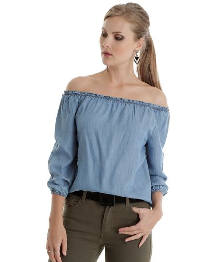 Blusa Ombro a Ombro em Jeans Azul Claro