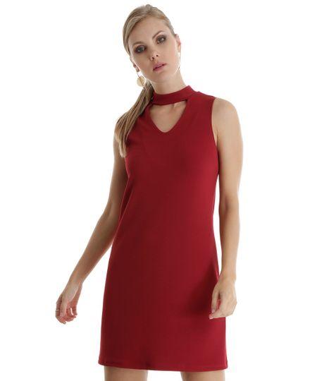 Vestido Texturizado Vinho