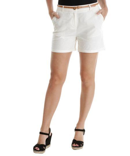 Short em Linho com Cinto Off White