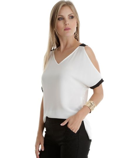 Blusa Open Shoulder Off White