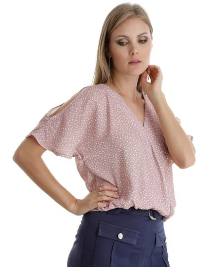 Blusa Open Shoulder Estampada de Poá Rosa Claro