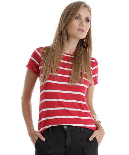 Blusa Listrada Vermelha