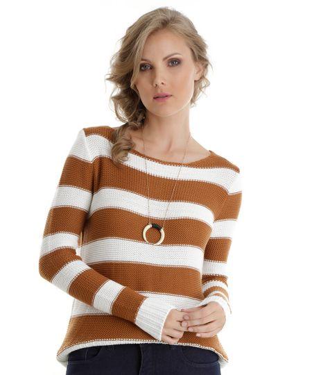 Suéter em Tricô Listrado Caramelo