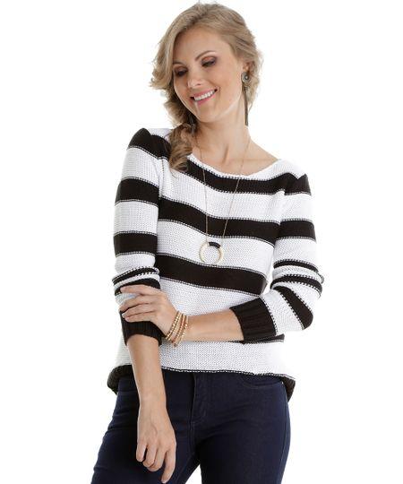 Suéter em Tricô Listrado Off White