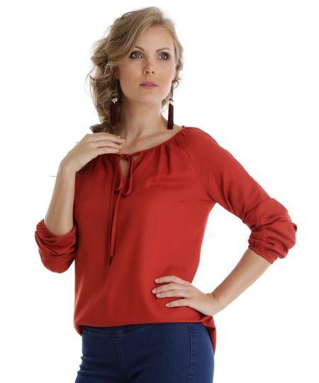 Blusa com Amarração Vermelha