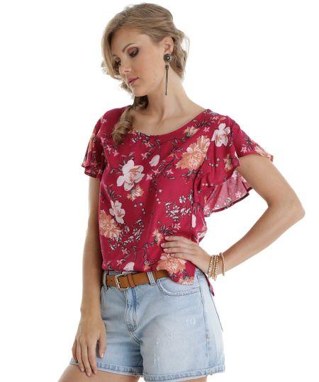 Blusa Estampada Floral Vinho
