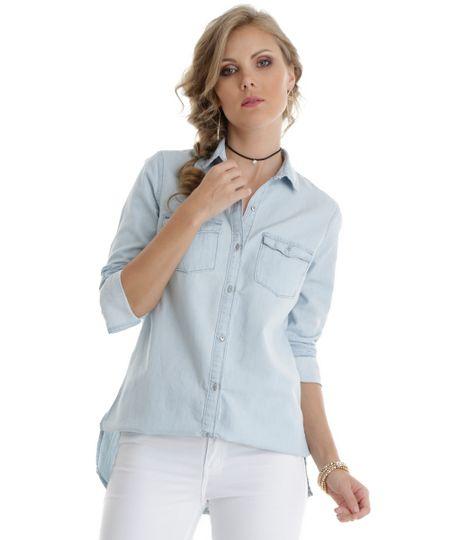 Camisa Longa Jeans Azul Claro