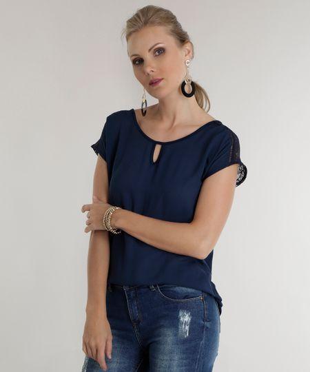Blusa com Renda Azul Marinho