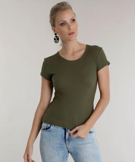 Blusa Básica Canelada Verde Militar