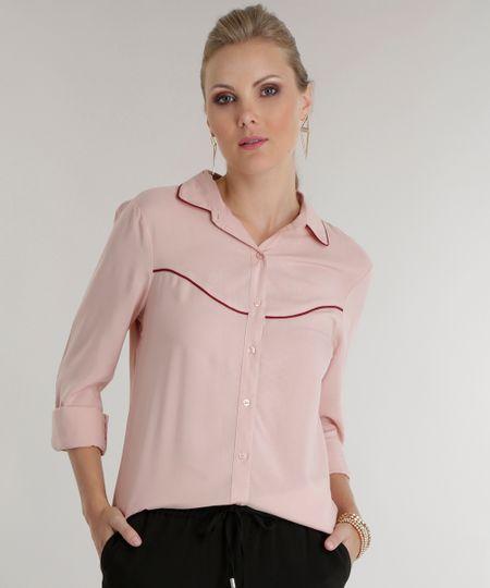Camisa com Recortes Rosa Claro