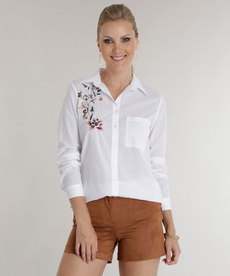 Camisa com Bordado Off White