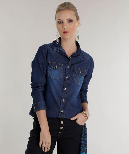 Camisa Jeans Azul Médio