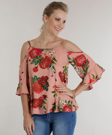 Blusa Open Shoulder Estampada Floral Rosa Claro
