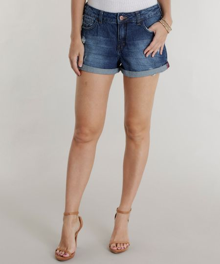 Short Jeans Relaxed Azul Escuro