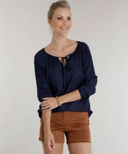 Blusa com Amarração Azul Marinho